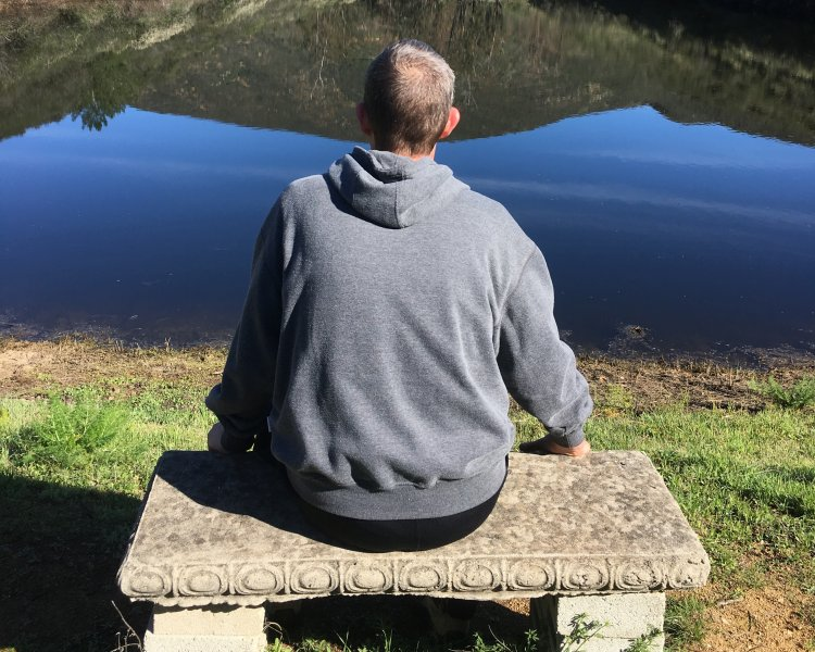 Meditating at the Questhaven Dam